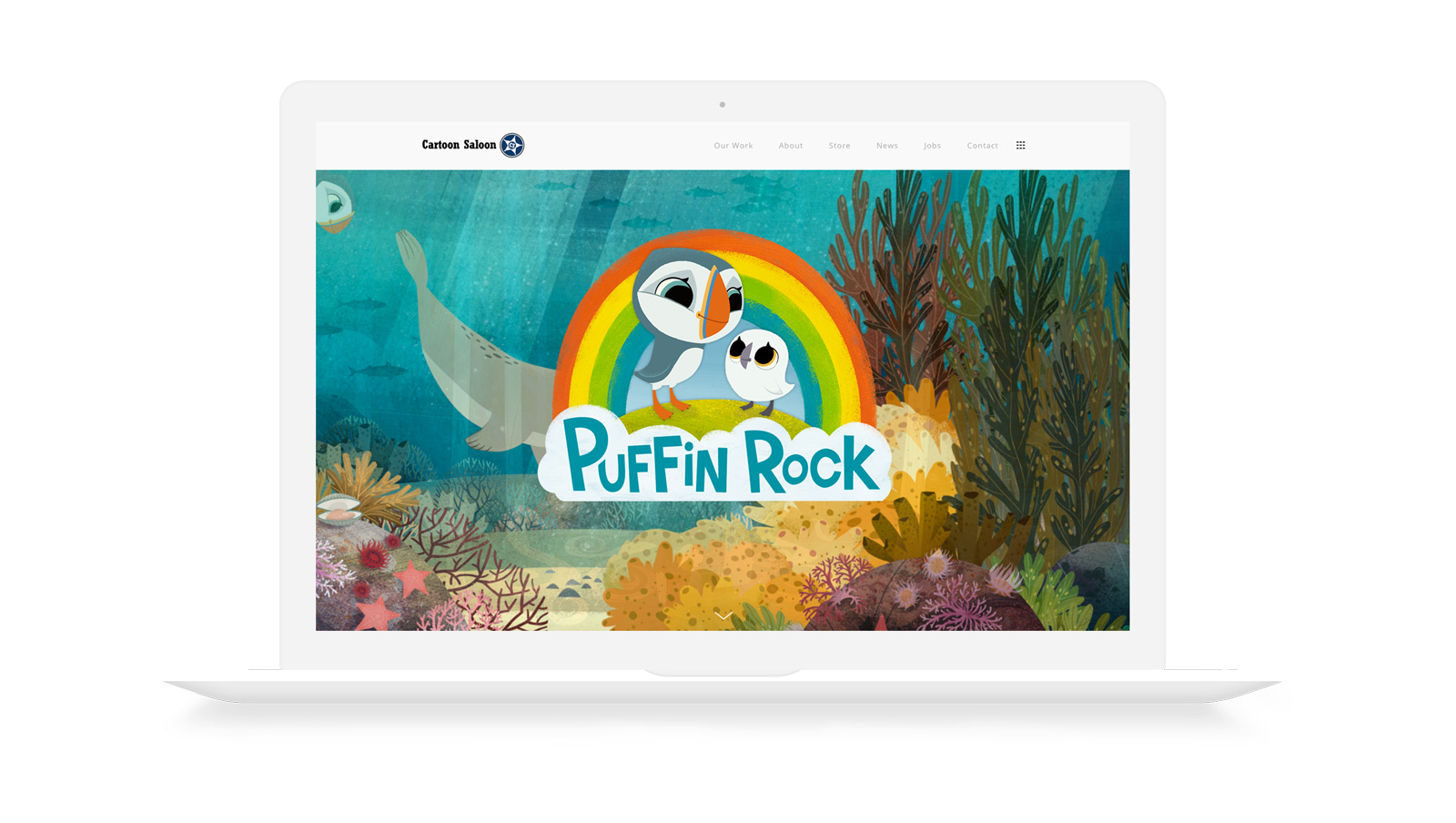 puffin rock cartoon saloon web design